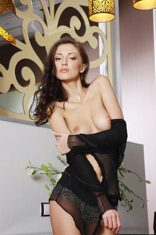 Брюнетка обнажила свое стройное тело позируя на высоких каблуках - секс порно фото